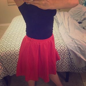 NWT Ark & Co Red Vegan Leather Perforated Skirt!